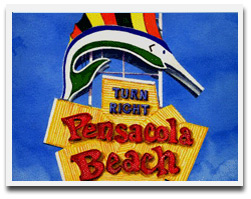 Pensacola Beach Sign - Map & Directions